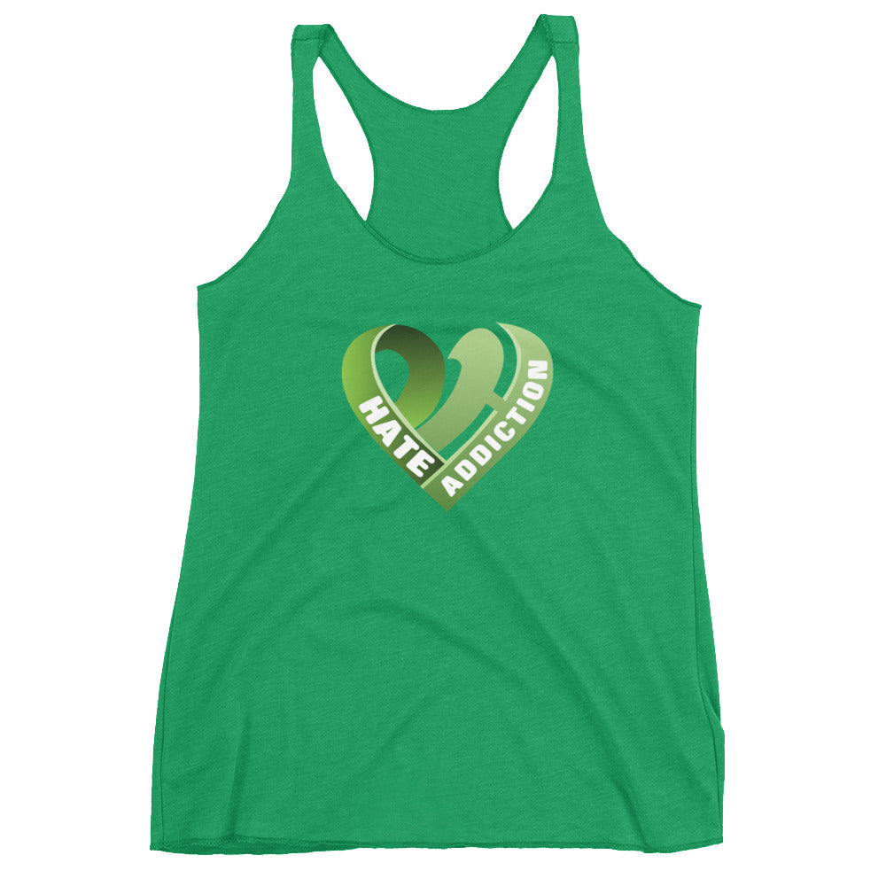 Positive Hate, Hate Addiction Green Heart Center - Women's Racerback Tank