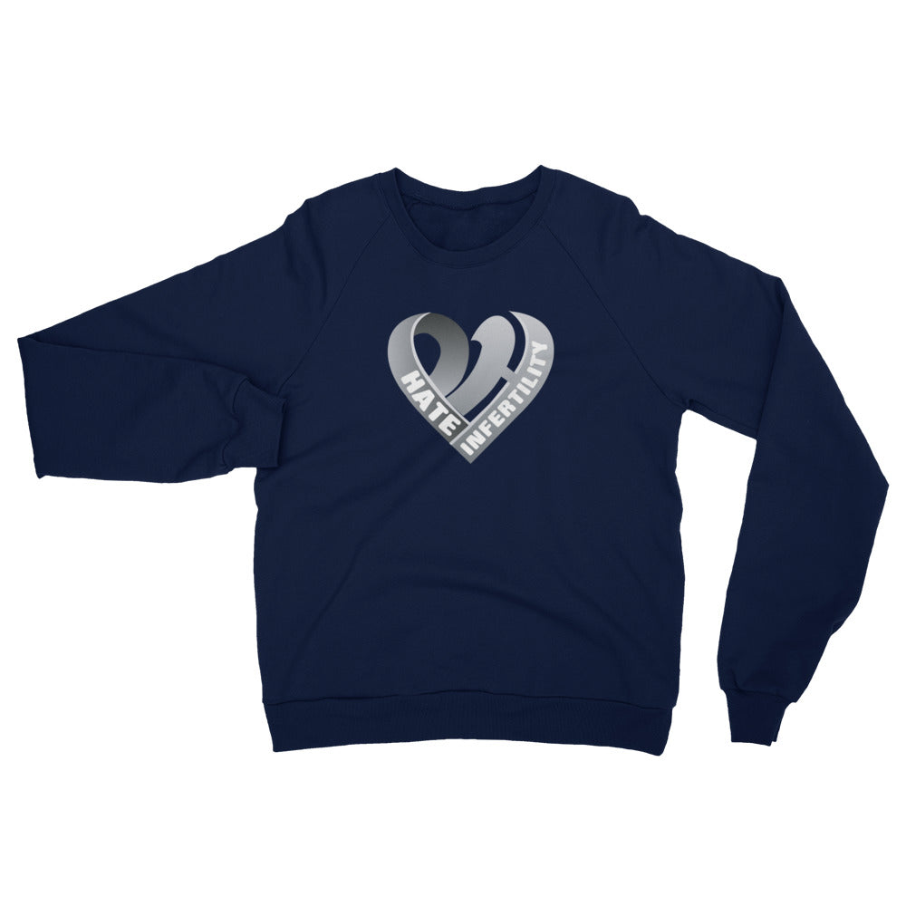 Positive Hate, Hate Infertility Grey Heart Middle - Unisex California Fleece Raglan Sweatshirt