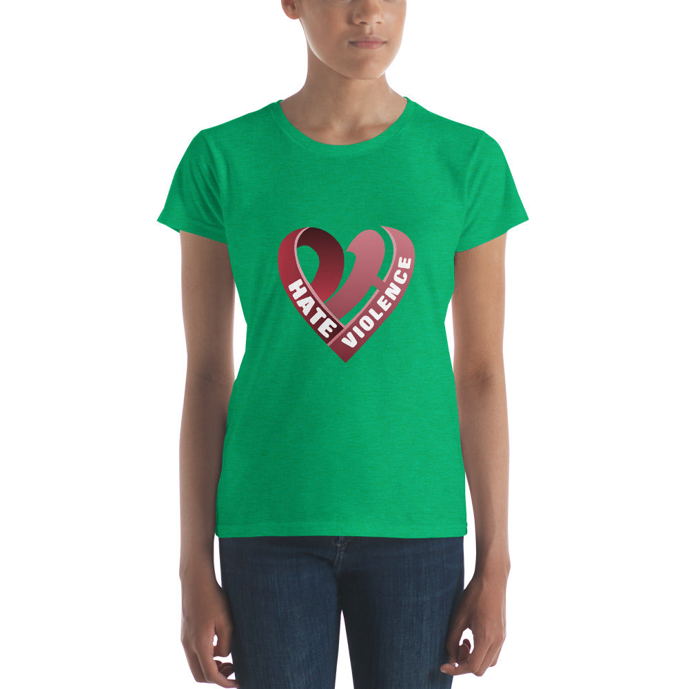 Positive Hate, Hate Violence Red Heart Middle -  Women's short sleeve t-shirt