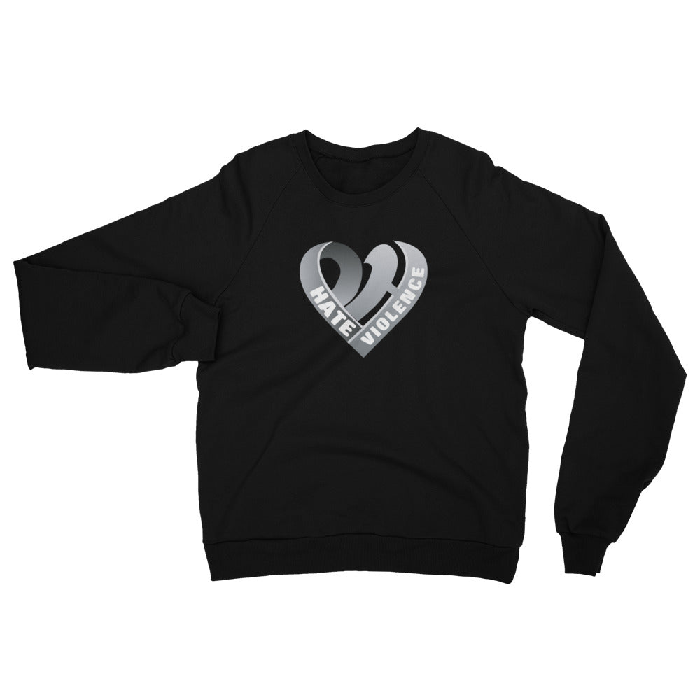 Positive Hate, Hate Violence Grey Heart Middle - Unisex California Fleece Raglan Sweatshirt