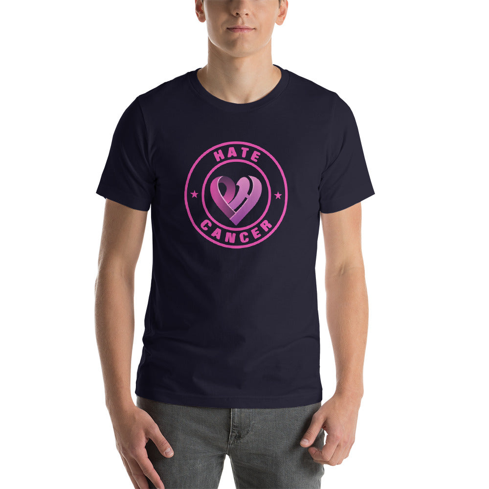 Positive Hate, Hate Cancer Pink Round Middle - T-shirt