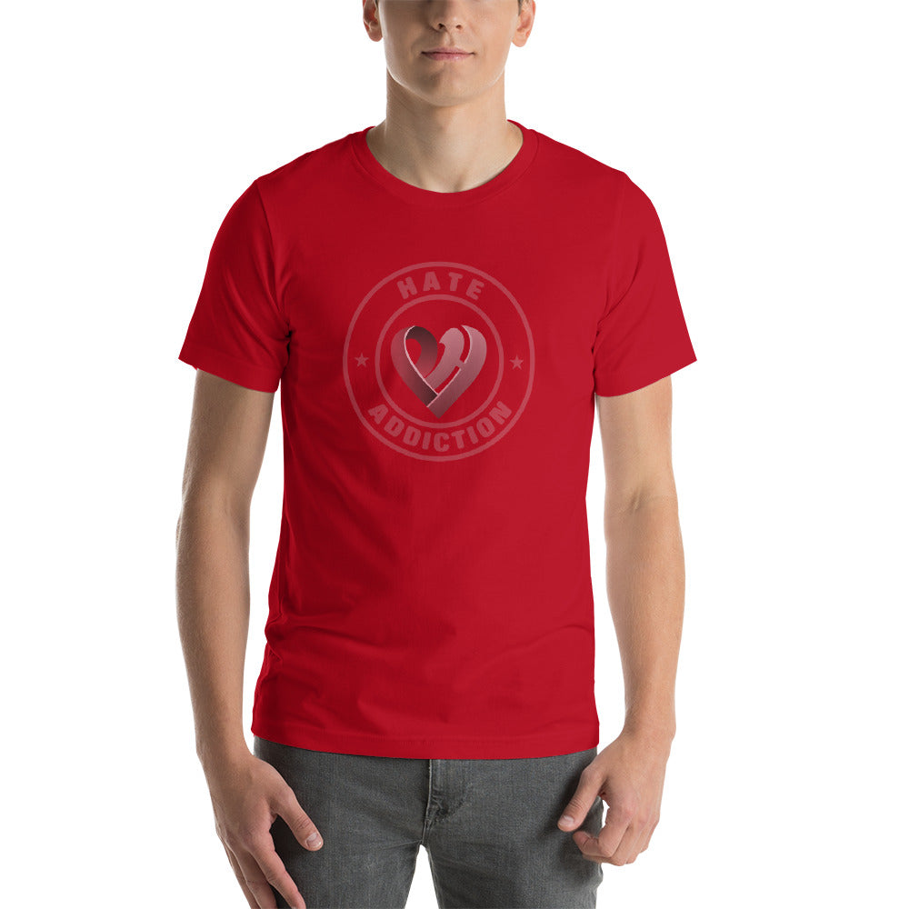 Positive Hate, Hate Addiction Red Round Middle - T-shirt