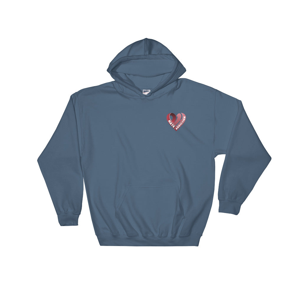 Positive Hate, Hate Addiction Red Heart Side - Hooded Sweatshirt