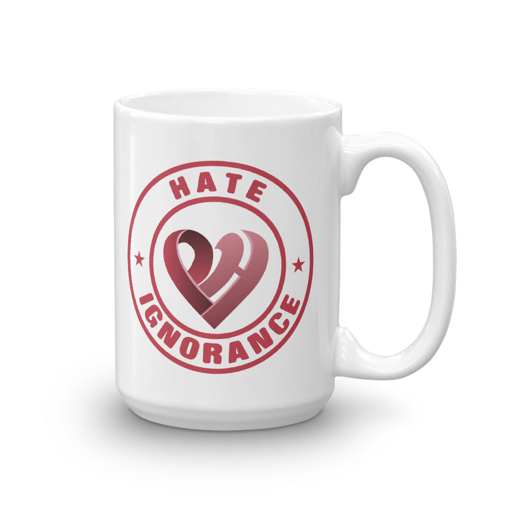 Positive Hate, Hate Ignorance Red Round - Glossy Mugs
