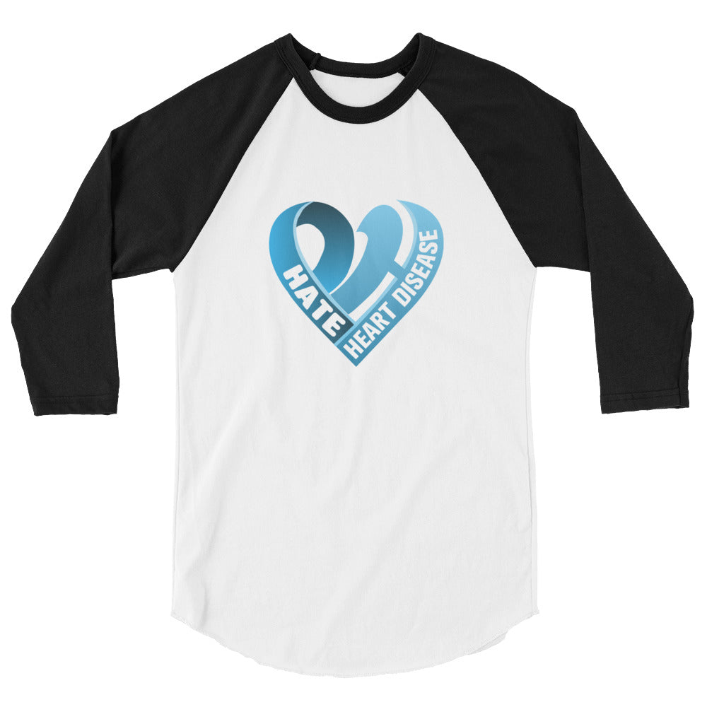 Positive Hate, Hate Heart Disease Blue Heart Middle - 3/4 Sleeve Raglan Shirt