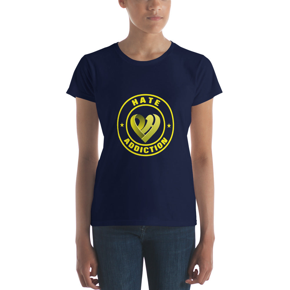 Positive Hate, Hate Addiction Yellow Round Middle -  Women's short sleeve t-shirt