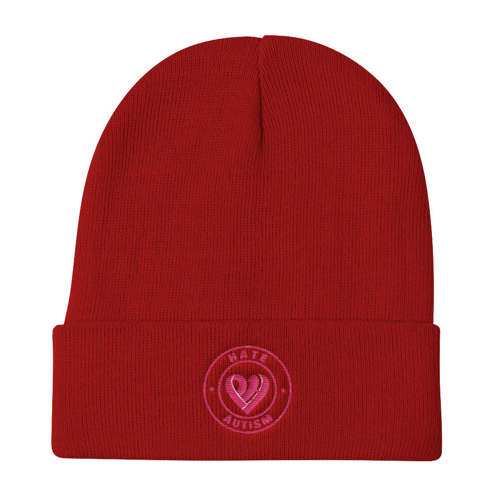 Positive Hate, Hate Autism Flamingo Round Middle - Knit Beanie