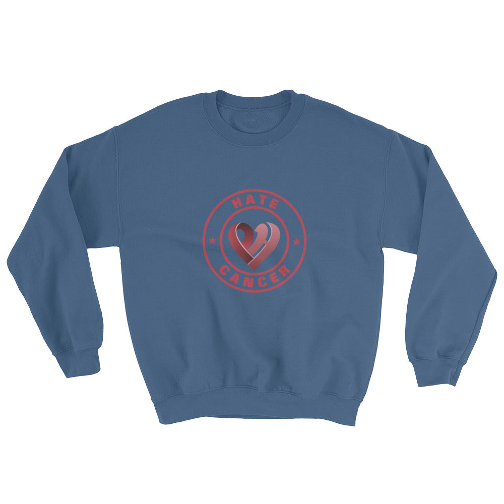 Positive Hate, Hate Cancer Red Round Middle - Unisex Sweatshirts