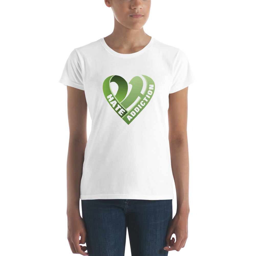 Positive Hate, Hate Addiction Green Heart Middle -  Women's short sleeve t-shirt