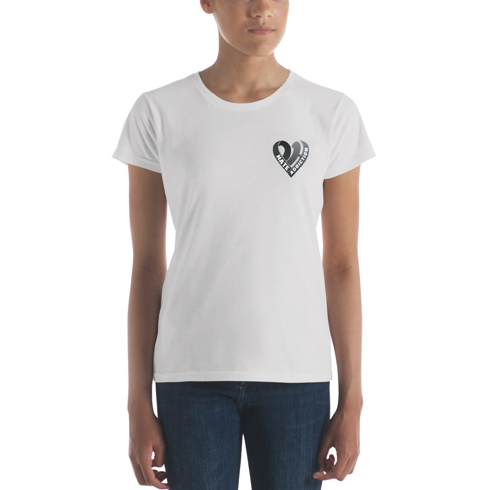 Positive Hate, Hate Addiction Black Heart Side -  Women's short sleeve t-shirt