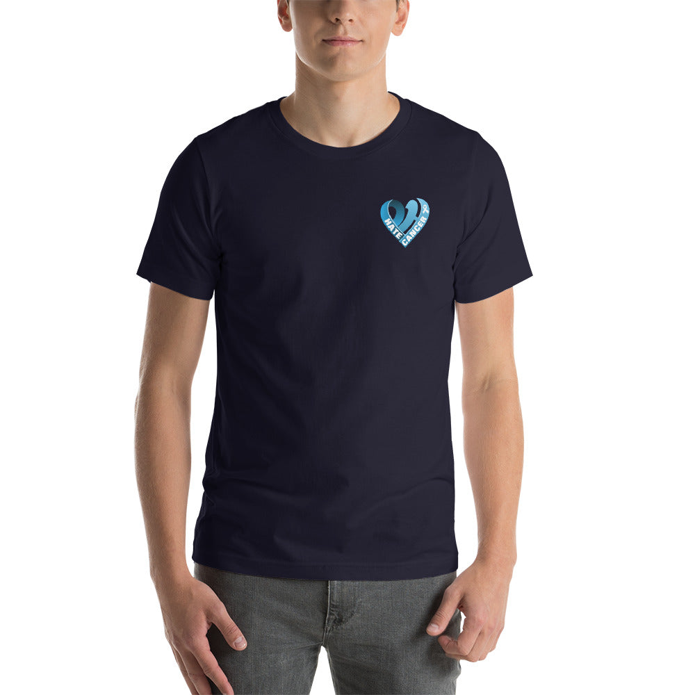 Positive Hate, Hate Cancer Blue Heart Side - T-shirt