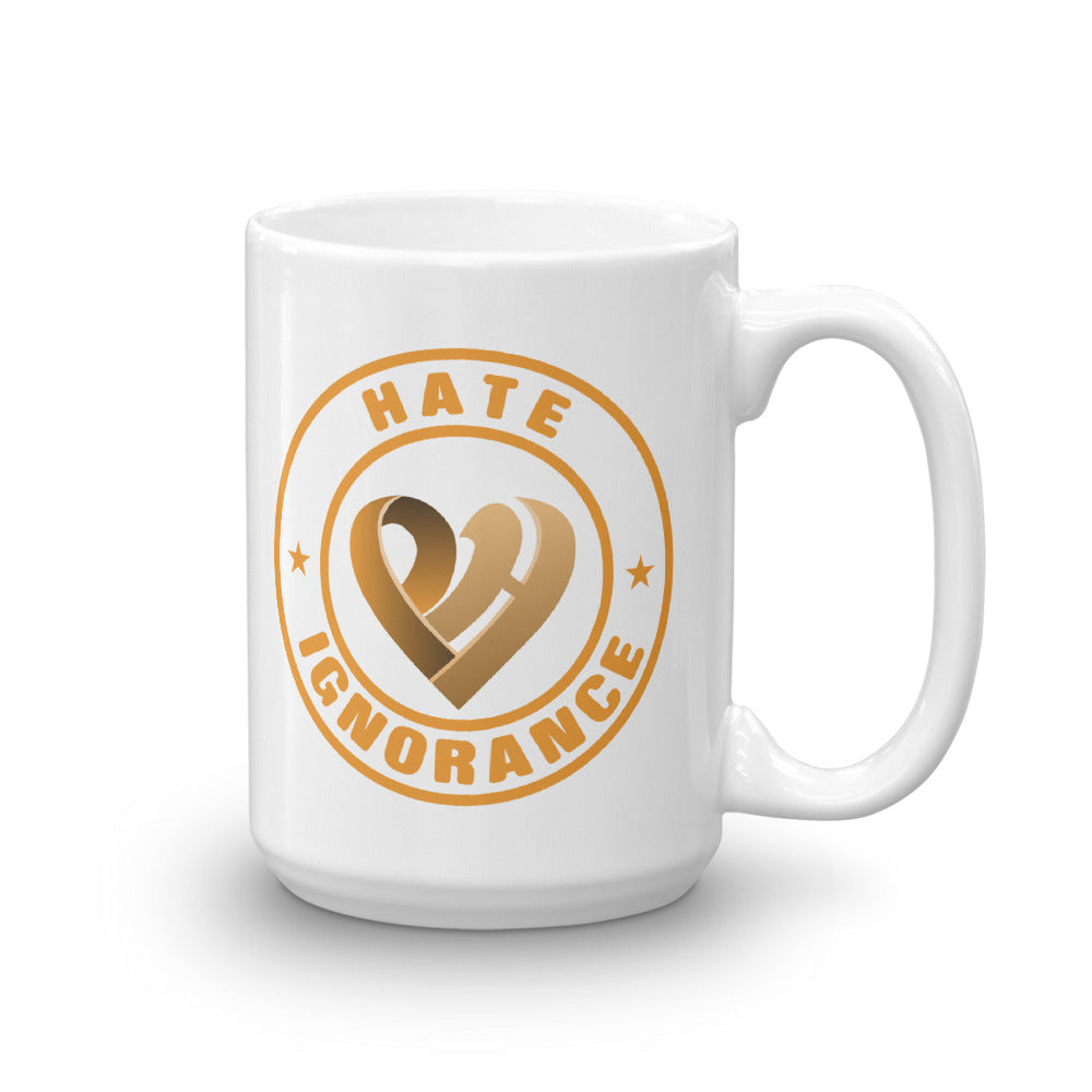 Positive Hate, Hate Ignorance Orange Round - Glossy Mugs