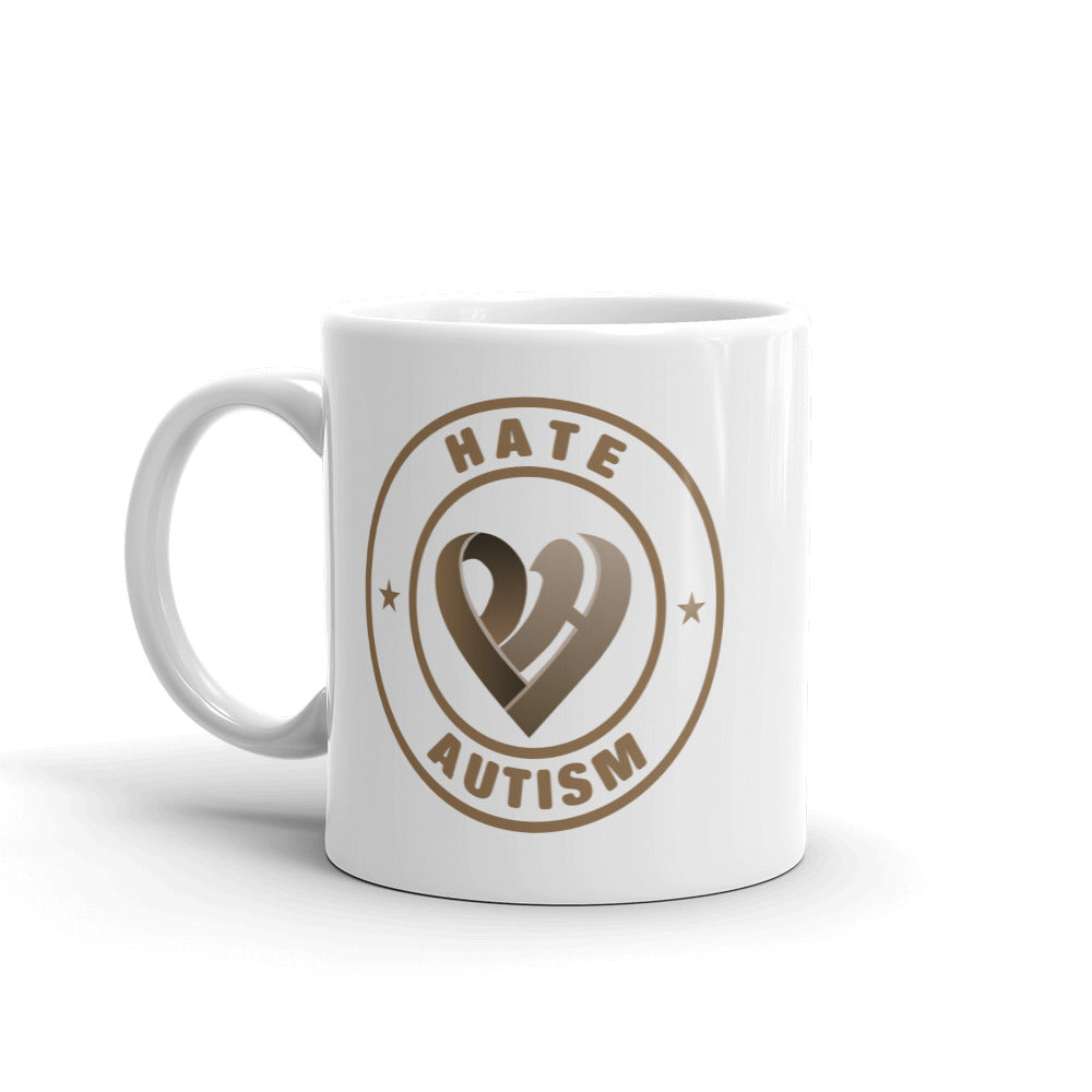 Positive Hate, Hate Autism Brown Round Side - Mugs