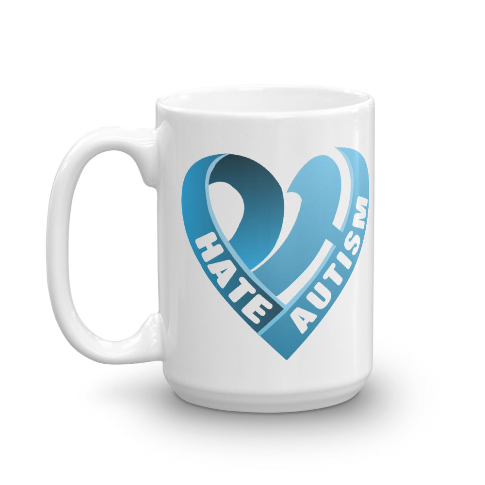 Positive Hate, Hate Autism Blue Heart Side - Mugs