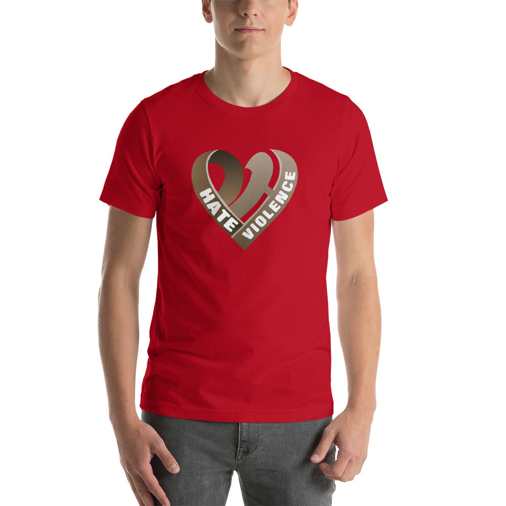 Positive Hate, Hate Violence Brown Heart Middle - T-shirt