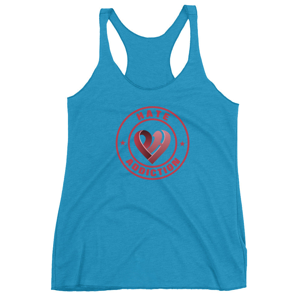 Positive Hate, Hate Addiction Red Round Center - Women's Racerback Tank