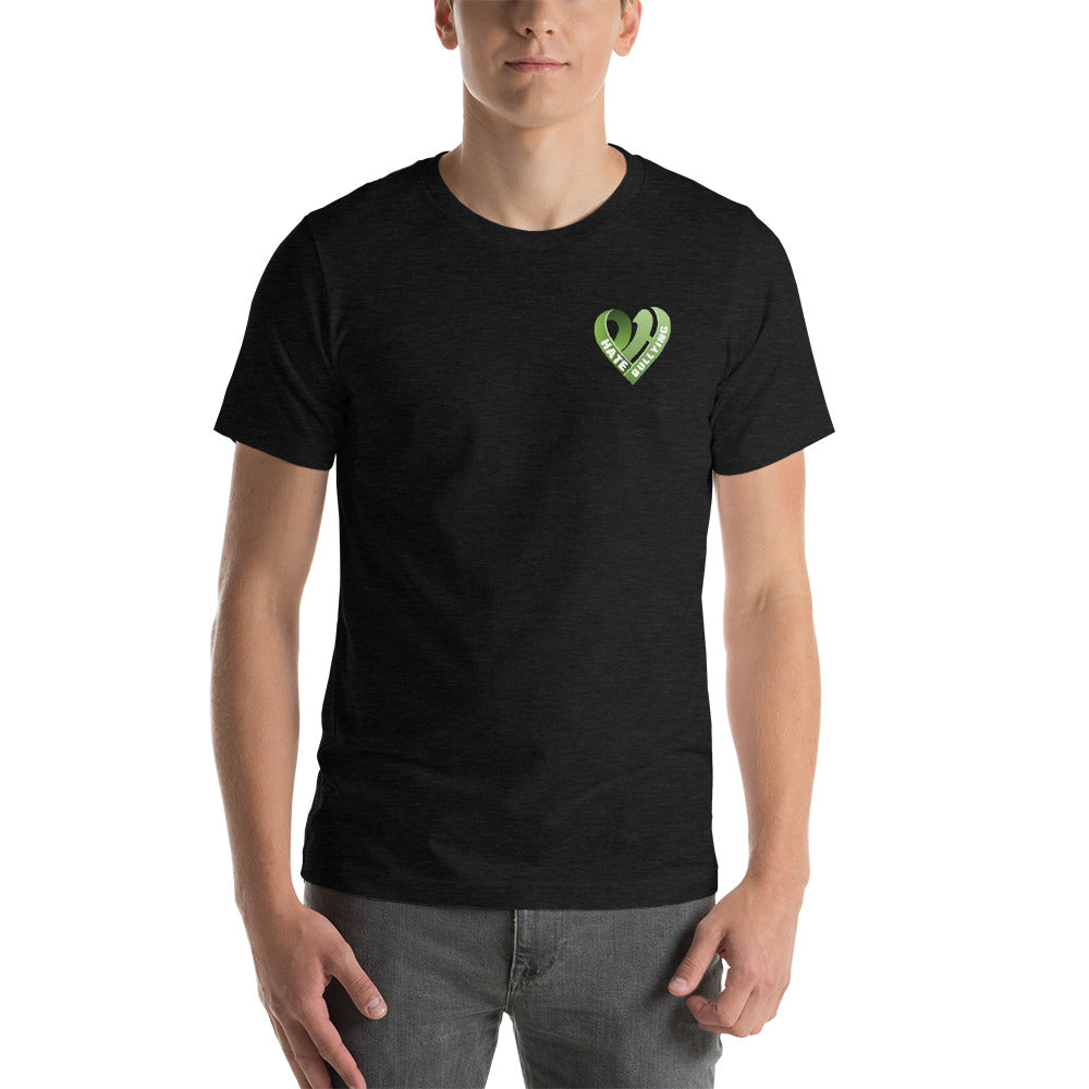 Positive Hate, Hate Bullying Green Heart Side - T-shirt
