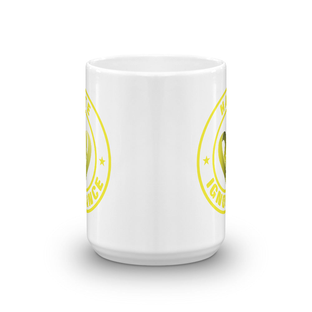 Positive Hate, Hate Ignorance Yellow Round - Glossy Mugs