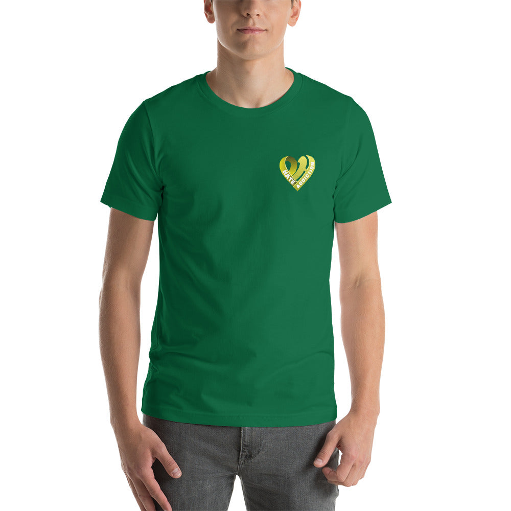 Positive Hate, Hate Addiction Yellow Heart Side - T-shirt