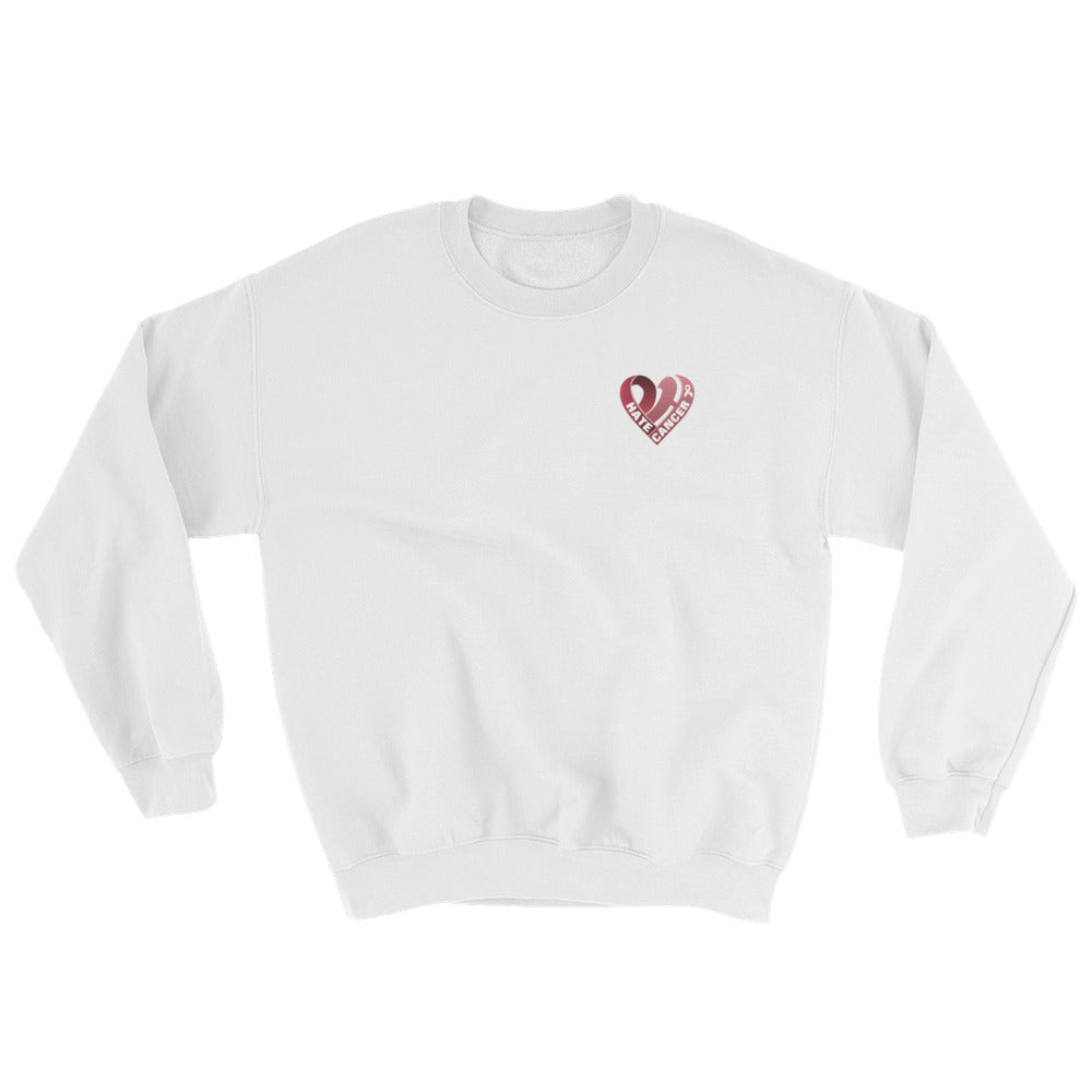Positive Hate, Hate Cancer Red Heart Side - Unisex Sweatshirts