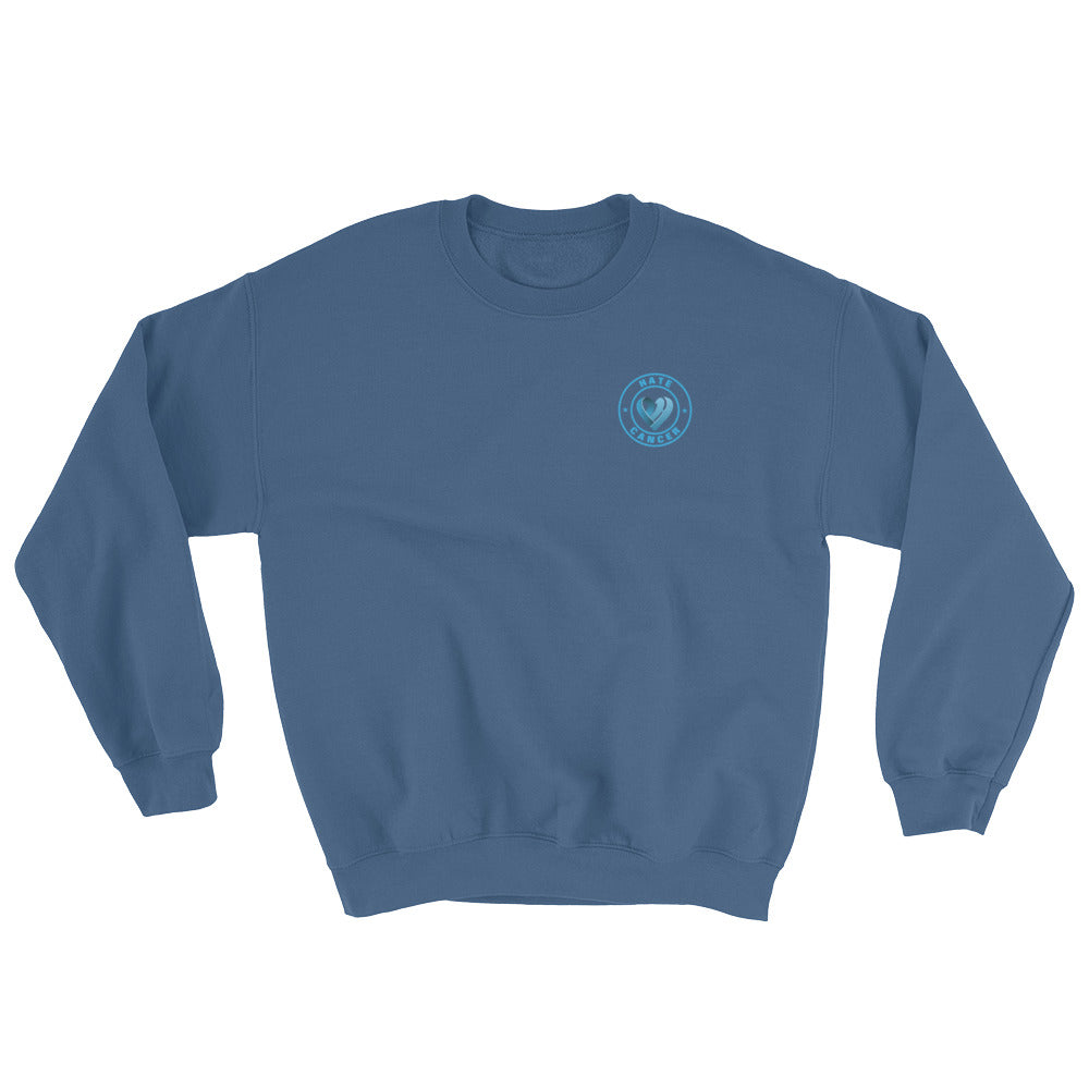 Positive Hate, Hate Cancer Blue Round Side - Unisex Sweatshirts