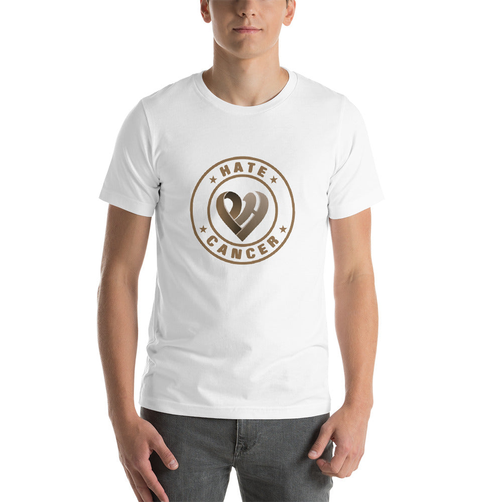 Positive Hate Cancer Brown Circle v2 Center - T-shirt
