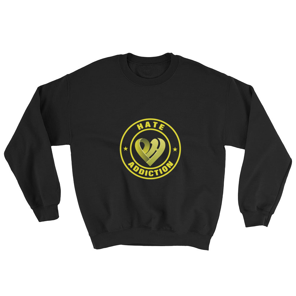 Positive Hate, Hate Addiction Yellow Round Middle - Unisex Sweatshirts