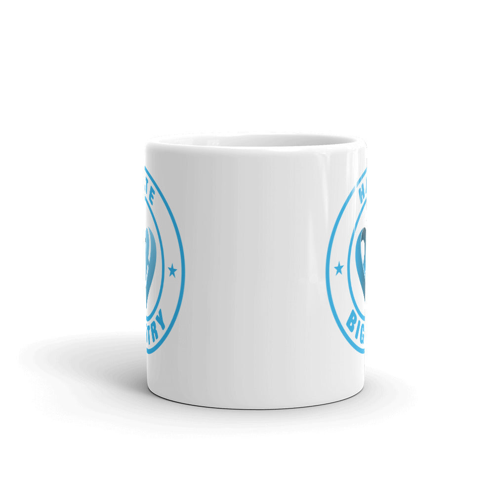 Positive Hate, Hate Bigotry Blue Round - Glossy Mugs