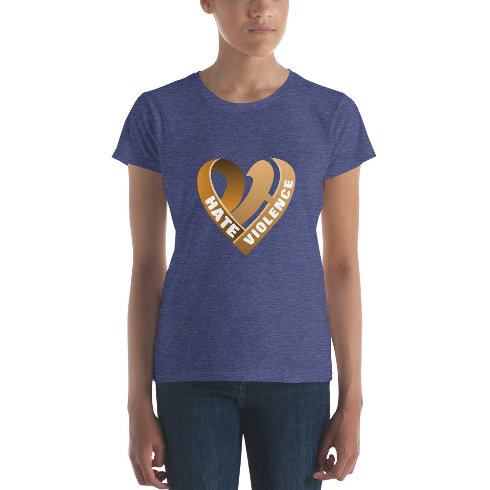 Positive Hate, Hate Violence Orange Heart Middle -  Women's short sleeve t-shirt