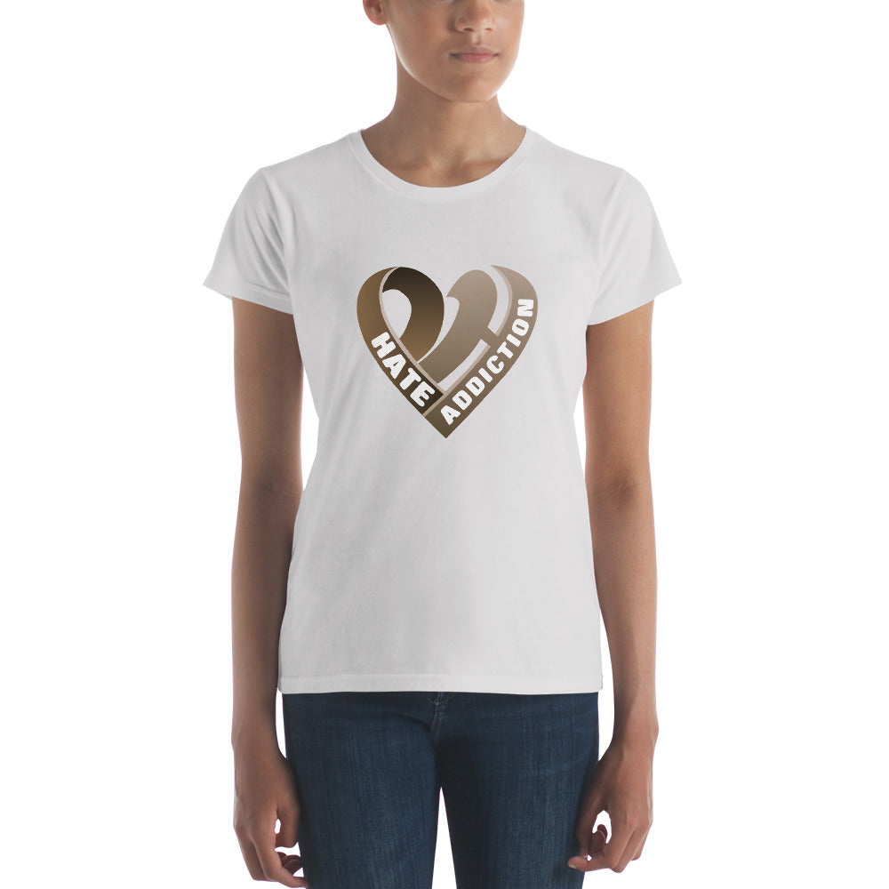 Positive Hate, Hate Addiction Brown Heart Middle -  Women's short sleeve t-shirt