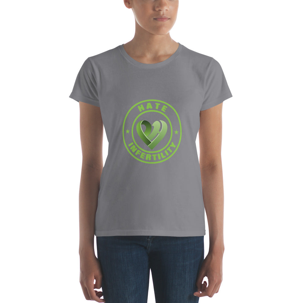 Positive Hate, Hate Infertility Green Round Middle -  Women's short sleeve t-shirt