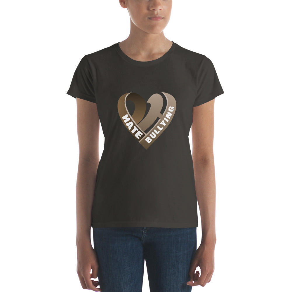 Positive Hate, Hate Bullying Brown Heart Middle -  Women's short sleeve t-shirt