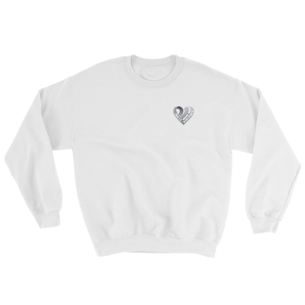 Positive Hate, Hate Violence Grey Heart Side - Unisex Sweatshirts