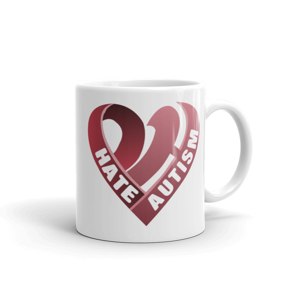 Positive Hate, Hate Autism Red Heart Side - Mugs