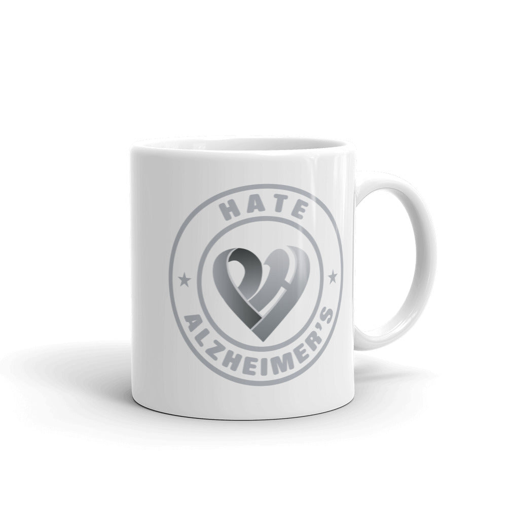 Positive Hate, Hate Alzheimer's Grey Round - Glossy Mugs