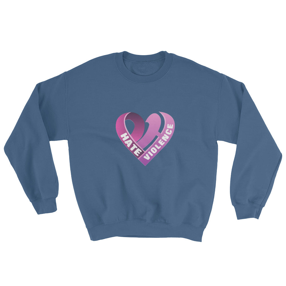 Positive Hate, Hate Violence Pink Heart Middle - Unisex Sweatshirts