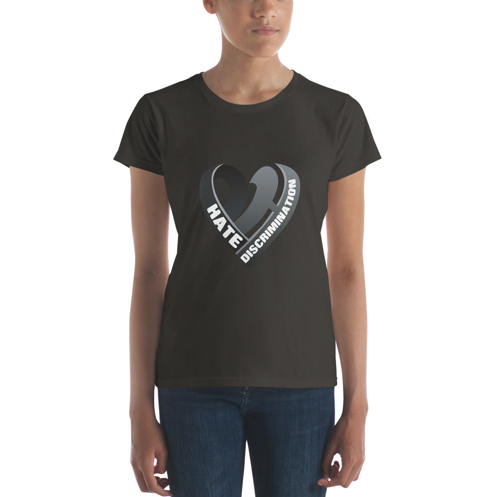 Positive Hate, Hate Discrimination Black Heart mid - Women's t-shirt