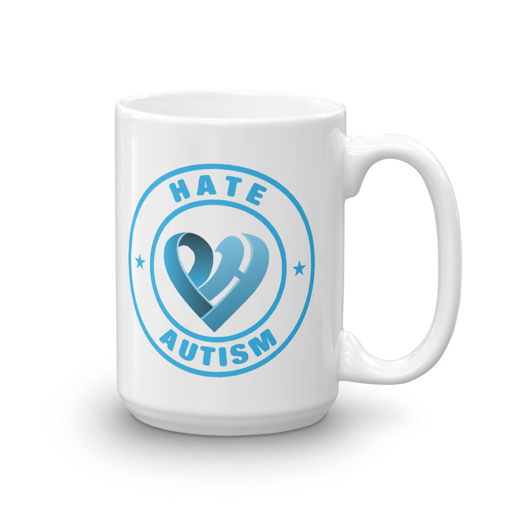 Positive Hate, Hate Autism Blue Round Side - Mugs