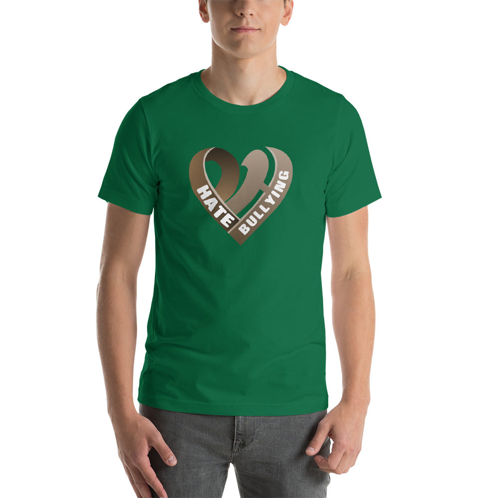 Positive Hate, Hate Bullying Brown Heart Middle - T-shirt