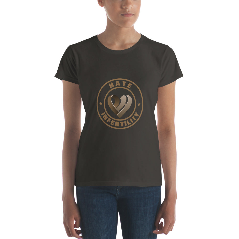 Positive Hate, Hate Infertility Brown Round Middle -  Women's short sleeve t-shirt