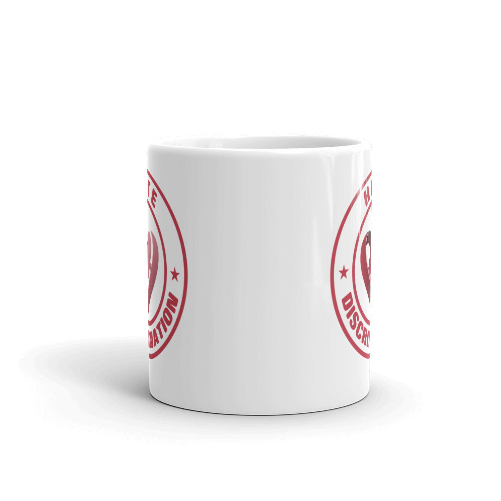 Positive Hate, Hate Discrimination Red Round - Glossy Mugs