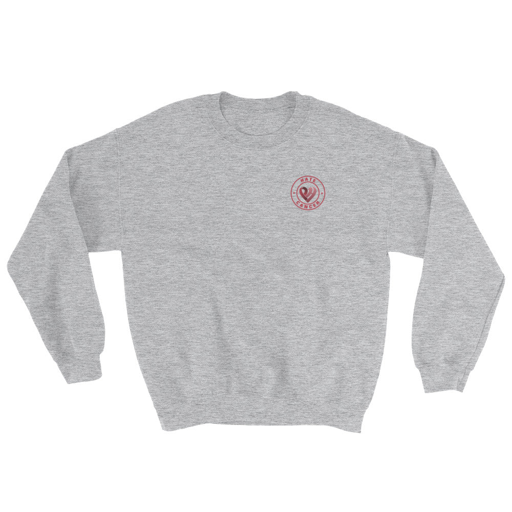 Positive Hate, Hate Cancer Red Round Side - Unisex Sweatshirts