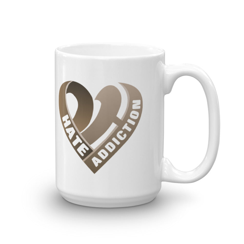 Positive Hate, Hate Addiction Brown Heart - Mug