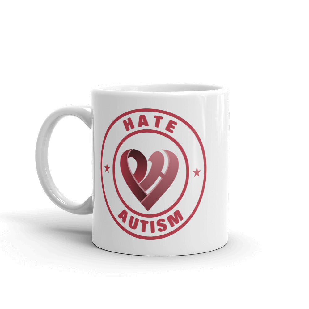 Positive Hate, Hate Autism Red Round Side - Mugs