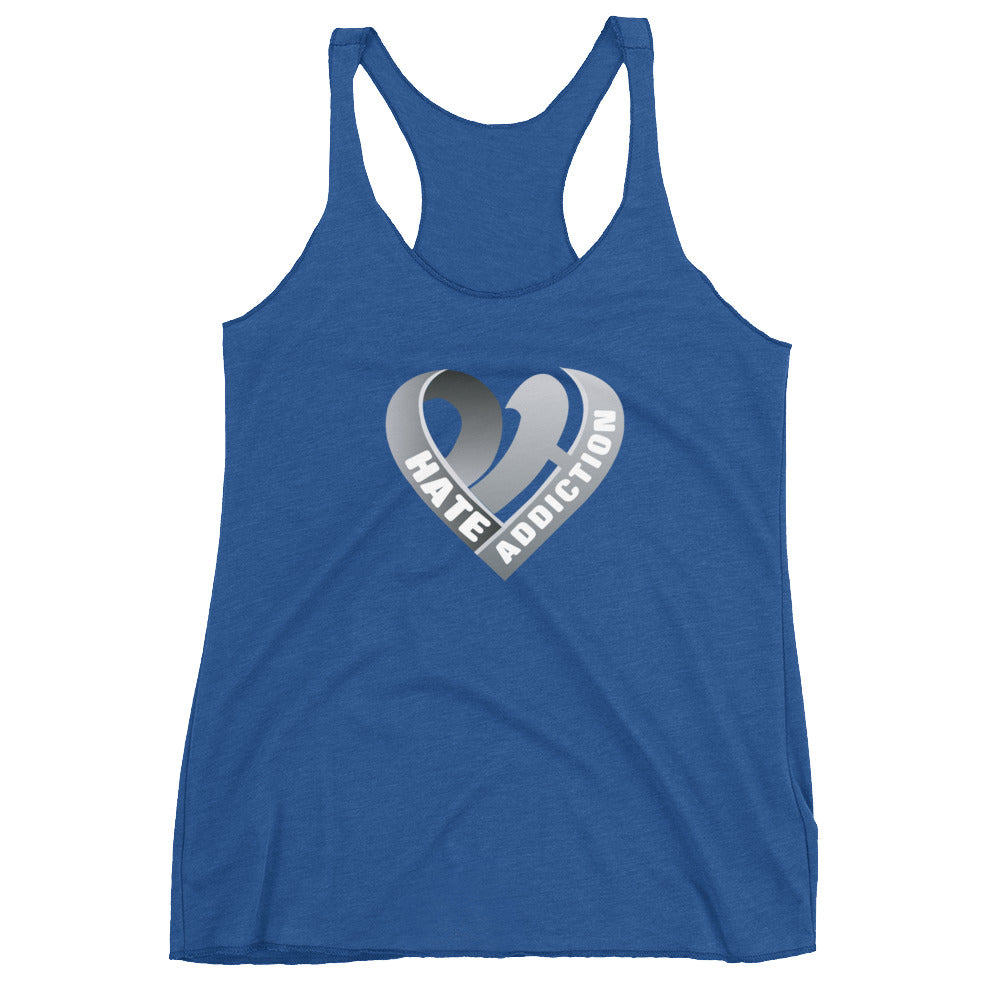 Positive Hate, Hate Addiction Gray Heart Center - Women's Racerback Tank