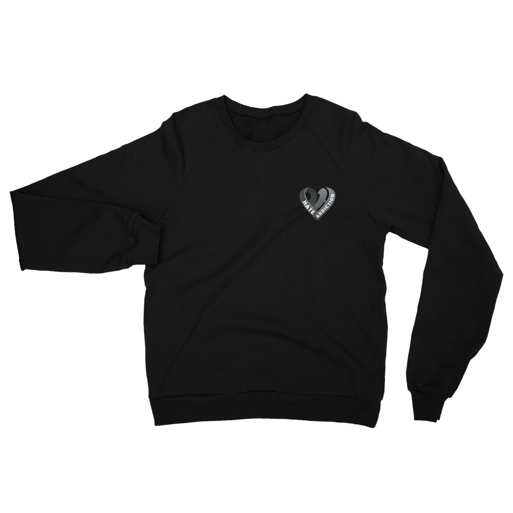 Positive Hate, Hate Addiction Black Heart Side - Unisex California Fleece Raglan Sweatshirt