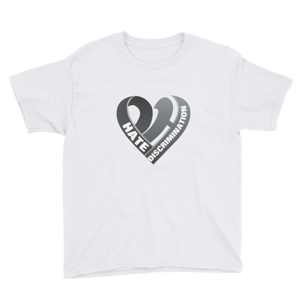 Positive Hate, Hate Discrimination Black Heart mid - Youth Short Sleeve T-Shirt