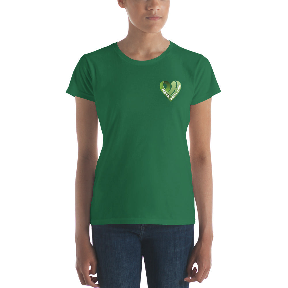 Positive Hate, Hate Addiction Green Heart Side -  Women's short sleeve t-shirt