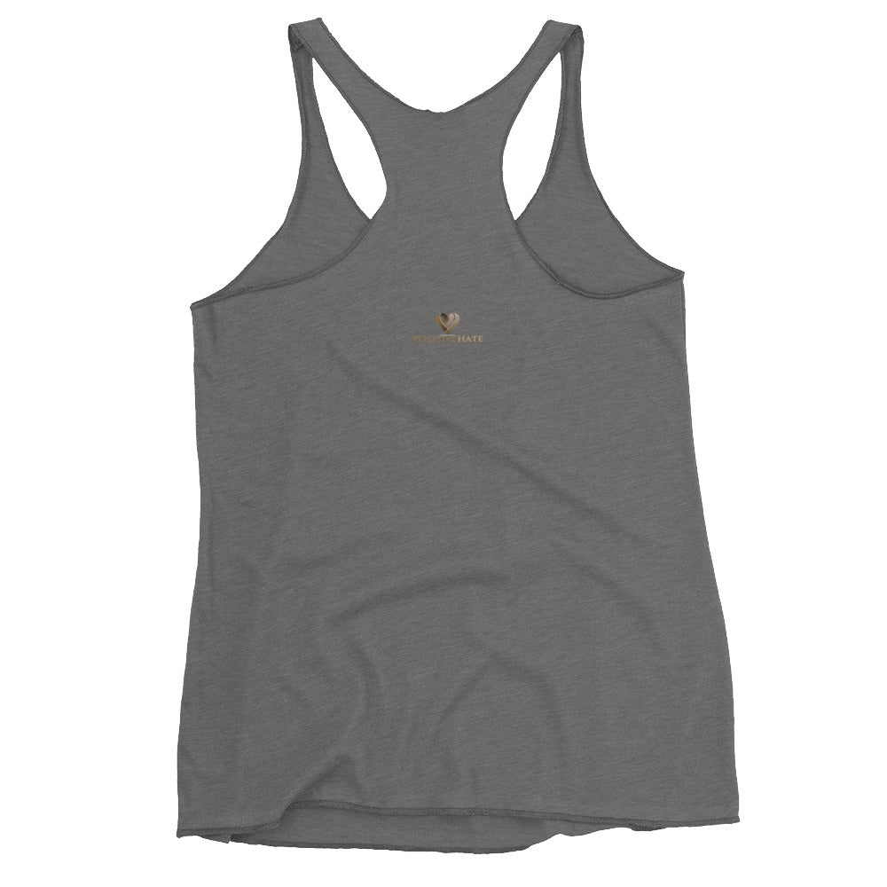 Positive Hate, Hate Violence Brown Round Center - Women's Racerback Tank