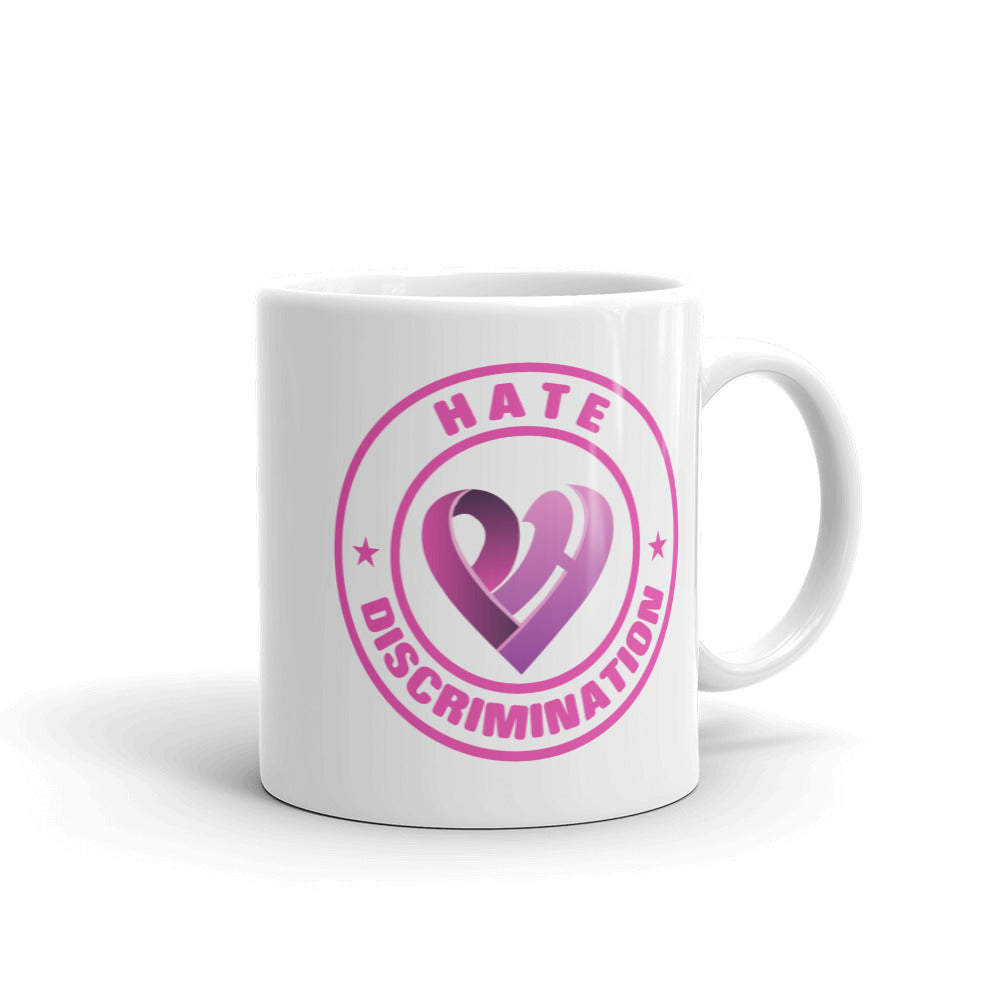 Positive Hate, Hate Discrimination Pink Round - Glossy Mugs